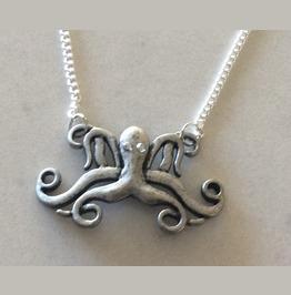Octopus Pendant Necklace With Rhinestone Eyes