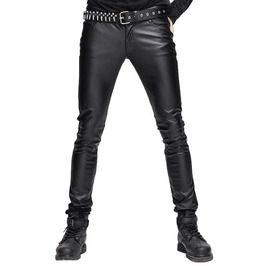Gothic Black Men's Tight Leather Pants