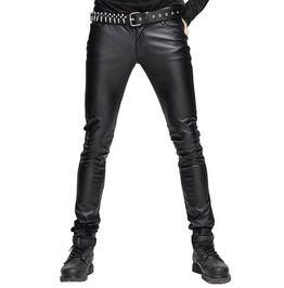 Gothic Black Men's Tight Leather Pants