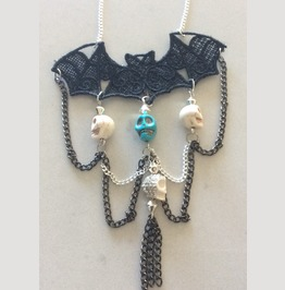 Bat And Skulls Gothic Statement Necklace