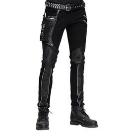 Gothic Punk Heavy Metal PU Leather Patchwork Side Pocket Zipper Design Biker Trousers