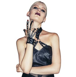Leather Punk Skull Chain Gloves