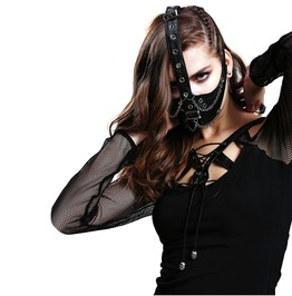 Punk Leather Silver Chain Black Mask