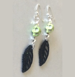 Handmade Green Skull And Black Lace Leaf Earrings