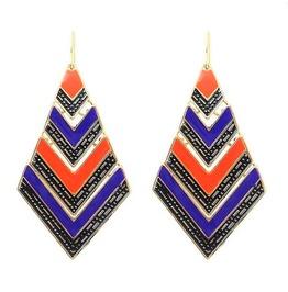 Boho Multi Color Gold Ethnic Tribal Bohemian Big Geo Triangle Drop Earrings
