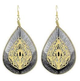 Boho Gold Ethnic Tribal Bohemian Crotchet Waterdrop Big Statement Earrings