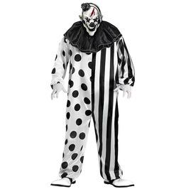 Black White Polka Dots Stripe Killer Clown Adult Costume Halloween Set