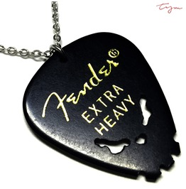 Skull Necklace Black Fender Guitar Pick Hand Carved