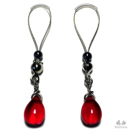 Nipple Noose | Nipple Rings | Red Crystal Drop | Non Piercing