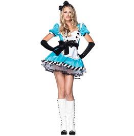 Charming Alice In Wonderland Adult Women Costume Halloween Set