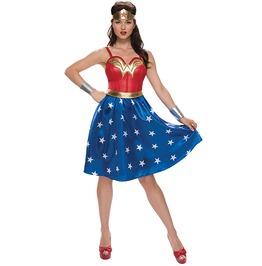 Wonder Woman Tiara Dress Skirt Adult Women Costume Halloween Set