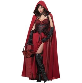 Dark Sexy Red Riding Hood Adult Women Costume Halloween Set
