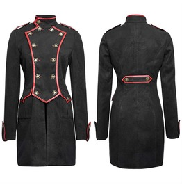 Womens Gothic Military Style Coat Black Winter Gothic Wool Kera Jacket