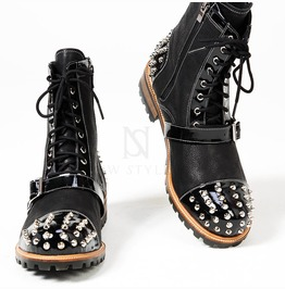 Studded & Belted Contrast Lace Up Zipper Leather Boots 395