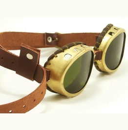 Brass Steampunk Goggles Oval With Green Lenses