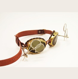 Steampunk Brass Goggles Double Magnifiers Mad Scientist
