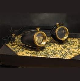 Steampunk Goggles Black Leather And Brass Handmade Steam Punk