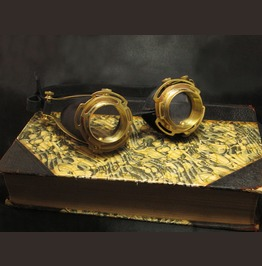 Steampunk Goggles Ornate Black Leather And Brass Handmade Steam Punk