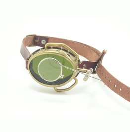 Steampunk Monocle Brass And Leather With Magnifier