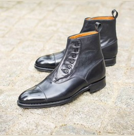 Handmade Men Black Leather Button Boots, Ankle Leather Button Boots