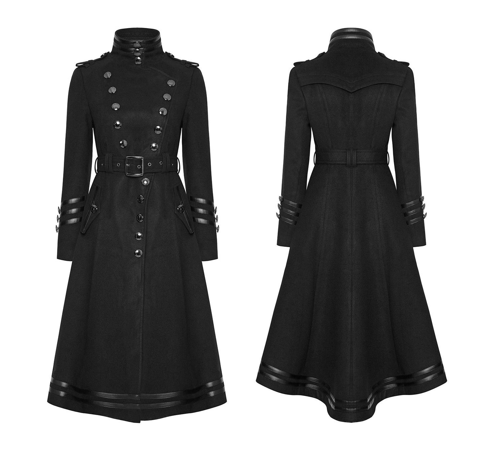 Gothic Women Steampunk Military Coat Black Punk Ladies Uniform Long