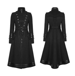 Gothic Women Steampunk Military Coat Black Punk Ladies Uniform Long Jacket