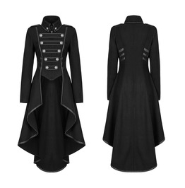 Womens Gothic Military Coat Black Punk Ladies Steampunk Army Uniform Jacket