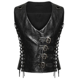 Punk Mens Dieselpunk Waistcoat Black Gothic Steampunk Faux Leather Top Vest