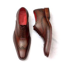 Handmade Men Wing Tip Brogue Brown Formal Shoes, Men Brown Dress Shoes