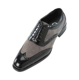 Handmade Mens Oxford Wing Tip Suede And Calf Leather Black And Gray Formal