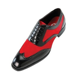 Handmade Mens Oxford Wing Tip Suede And Calf Leather Black And Red