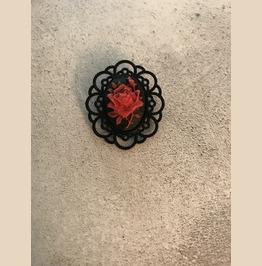 Red Rose Black Brooch