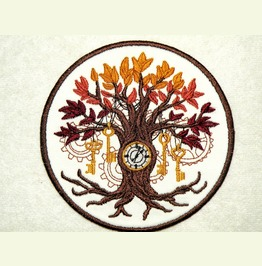 Embroidered Steampunk Time Tree Patch