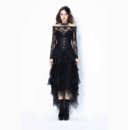 Black Layered Fishnet Lace Mesh Long Gothic Witch Skirt Free To Ship
