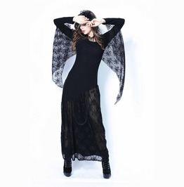 Black Gothic Lace Wing Chain Belt Long Bat Dress Costume Free To Ship