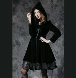 Black Velvet Gothic Lolita Hooded Skull Zip Front Frill Jacket Free To Ship