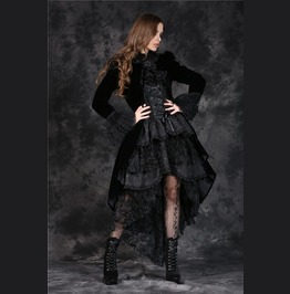 Black Velvet Gothic Lolita Long Lace Cape Jacket Free To Ship