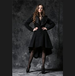 Black 3/4 Length Long Goth Warm Button Front Fall Coat Free To Ship