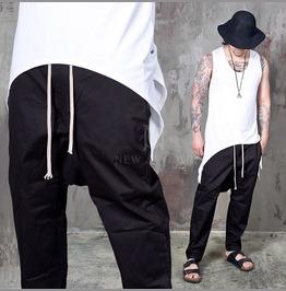 Deep Crotch Black Baggy Drawcord Banding Pants 273