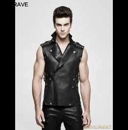 Black Gothic Heavy Punk Waistcoat For Men Y 812