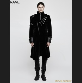 Black Gothic Handsome Punk Medium Length Coat For Men Y 811