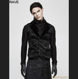 Black Gothic Vintage Jacquard Vest For Men Y 807 Mbk