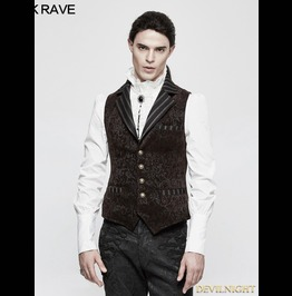 Coffee Steampunk Vintage Jacquard Vest For Men Y 807 Mco