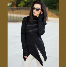 Black Asymmetric Zipper Tunic/Extravagant Asymmetric Zipper Top