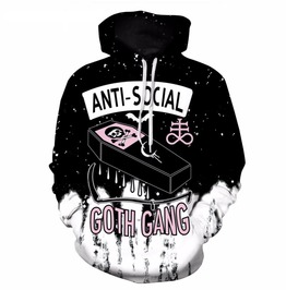 Anti Social Black And White Punk Hoodie