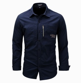 Men's Letter Embroideried Zipper Deco Slim Fitted Shirt