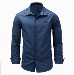 Men's Badge Embroideried Button Down Shirt
