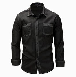 Men's Casual Slim Fitted Long Sleeve Denim Shirt