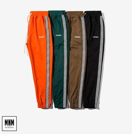 Men's Checkerboard Stripe Colorblock Drawstring Jogger Pants
