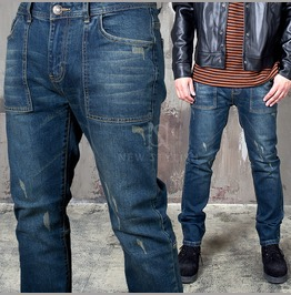 Distressed Squared Seaming Pocket Tapered Jeans 297
